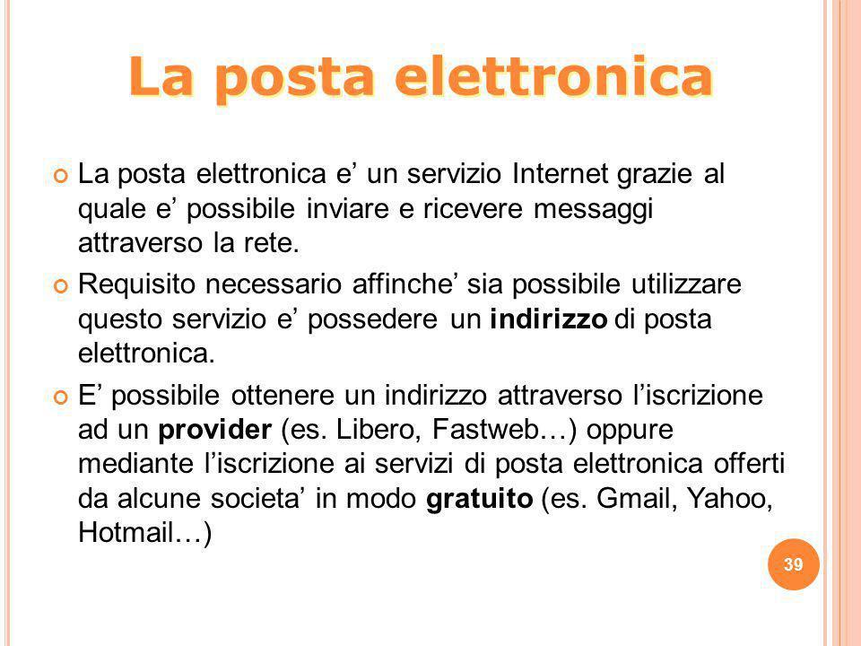 La posta elettronica e' un servizio Internet grazie al quale e' possibile inviare e ricevere messaggi attraverso la rete. Requisito necessario affinch