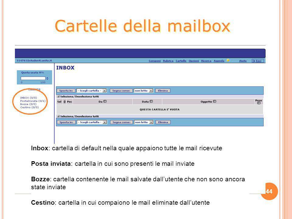 44 Cartelle della mailbox Inbox: cartella di default nella quale appaiono tutte le mail ricevute Posta inviata: cartella in cui sono presenti le mail