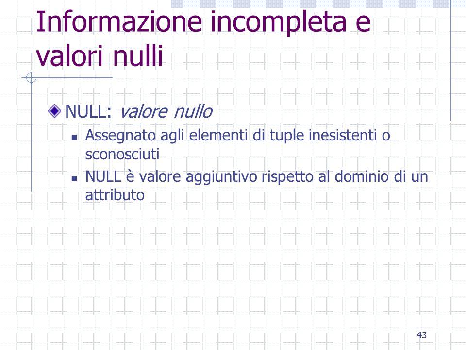 43 Informazione incompleta e valori nulli NULL: valore nullo Assegnato agli elementi di tuple inesistenti o sconosciuti NULL è valore aggiuntivo rispe