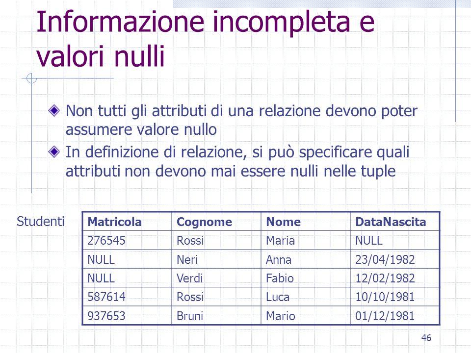 46 Informazione incompleta e valori nulli Non tutti gli attributi di una relazione devono poter assumere valore nullo In definizione di relazione, si