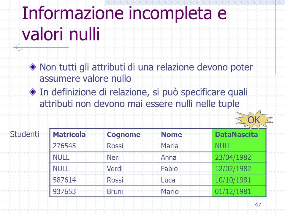 47 Informazione incompleta e valori nulli Non tutti gli attributi di una relazione devono poter assumere valore nullo In definizione di relazione, si
