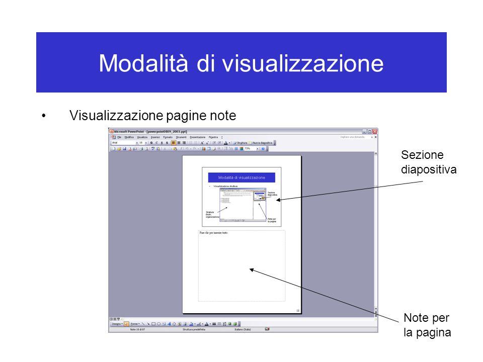 Modalità di visualizzazione Visualizzazione pagine note Sezione diapositiva Note per la pagina