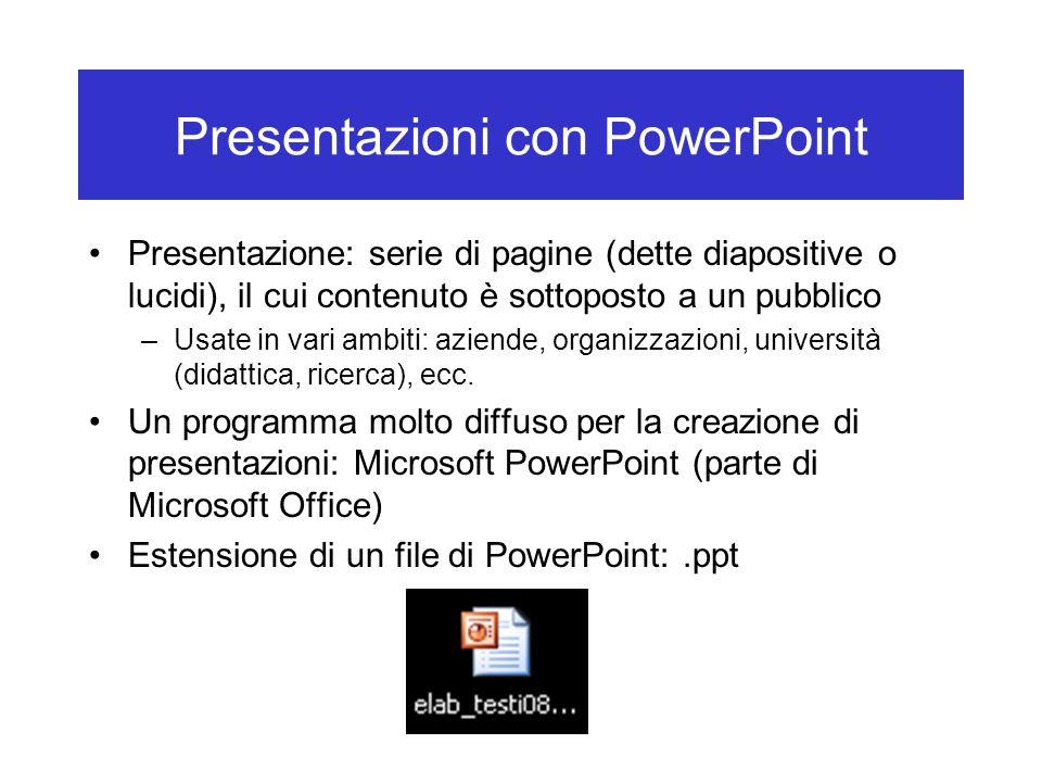 Presentazioni con PowerPoint Presentazione: serie di pagine (dette diapositive o lucidi), il cui contenuto è sottoposto a un pubblico –Usate in vari a