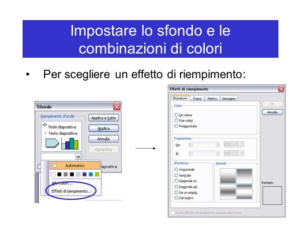 Impostare lo sfondo e le combinazioni di colori Per scegliere un effetto di riempimento: