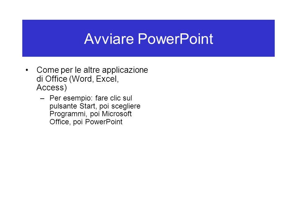 Avviare PowerPoint Come per le altre applicazione di Office (Word, Excel, Access) –Per esempio: fare clic sul pulsante Start, poi scegliere Programmi, poi Microsoft Office, poi PowerPoint