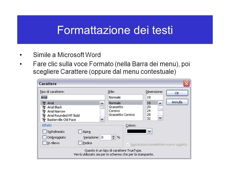 Formattazione dei testi Simile a Microsoft Word Fare clic sulla voce Formato (nella Barra dei menu), poi scegliere Carattere (oppure dal menu contestu