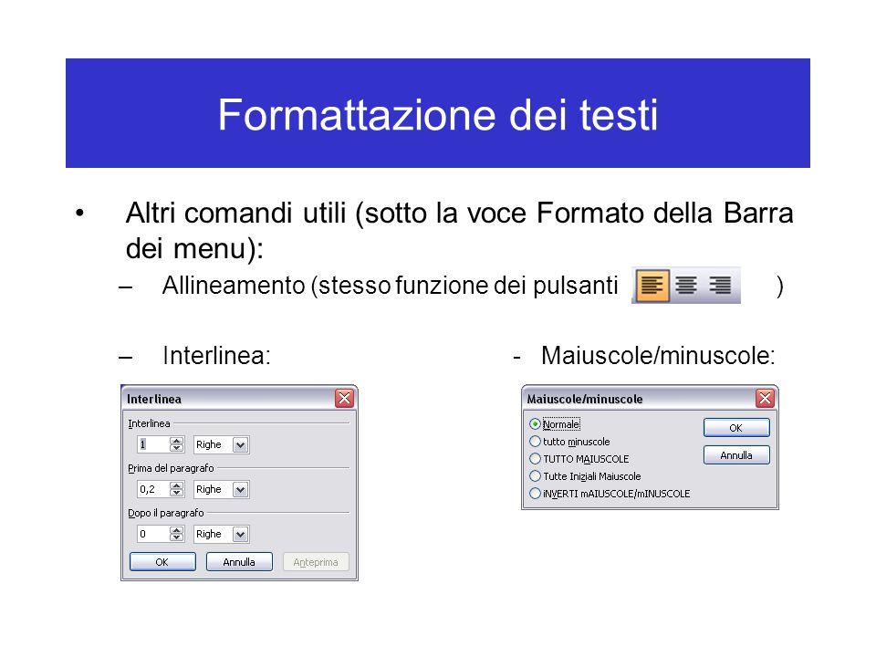 Formattazione dei testi Altri comandi utili (sotto la voce Formato della Barra dei menu): –Allineamento (stesso funzione dei pulsanti) –Interlinea:- Maiuscole/minuscole: