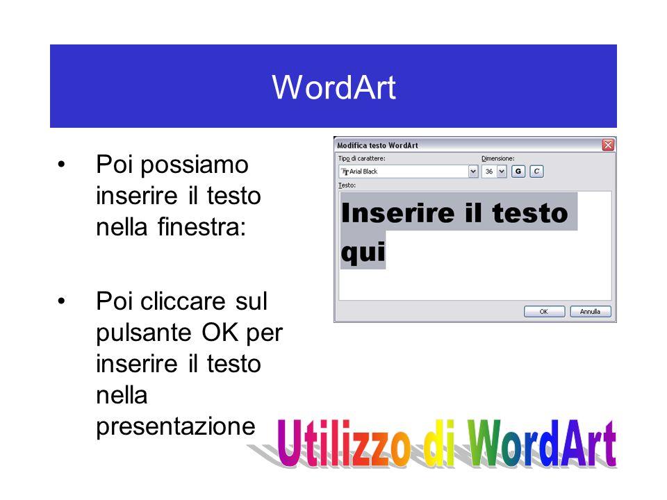 WordArt Poi possiamo inserire il testo nella finestra: Poi cliccare sul pulsante OK per inserire il testo nella presentazione