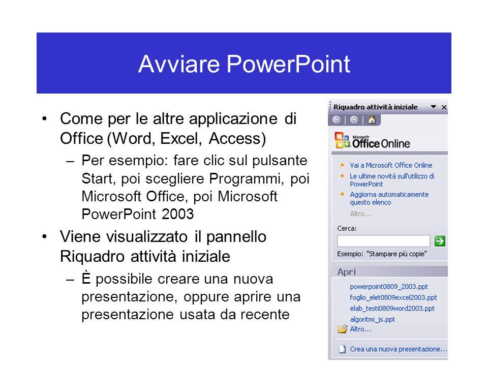 Avviare PowerPoint Come per le altre applicazione di Office (Word, Excel, Access) –Per esempio: fare clic sul pulsante Start, poi scegliere Programmi,