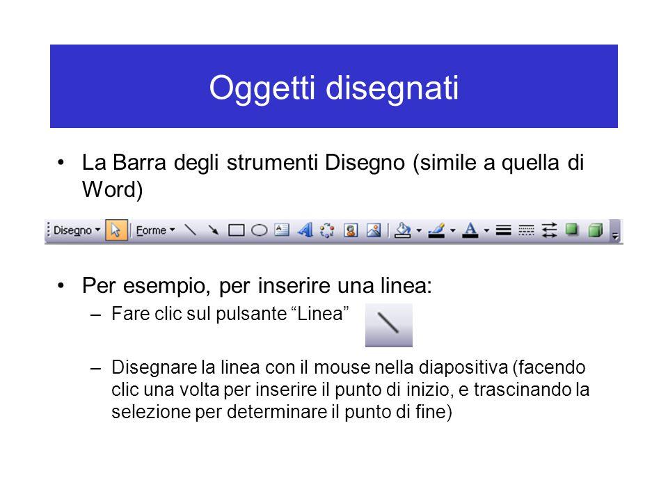 Oggetti disegnati La Barra degli strumenti Disegno (simile a quella di Word) Per esempio, per inserire una linea: –Fare clic sul pulsante Linea –Disegnare la linea con il mouse nella diapositiva (facendo clic una volta per inserire il punto di inizio, e trascinando la selezione per determinare il punto di fine)