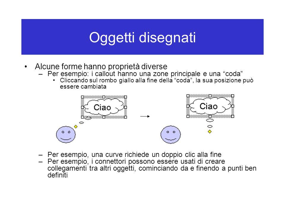 """Oggetti disegnati Alcune forme hanno proprietà diverse –Per esempio: i callout hanno una zone principale e una """"coda"""" Cliccando sul rombo giallo alla"""