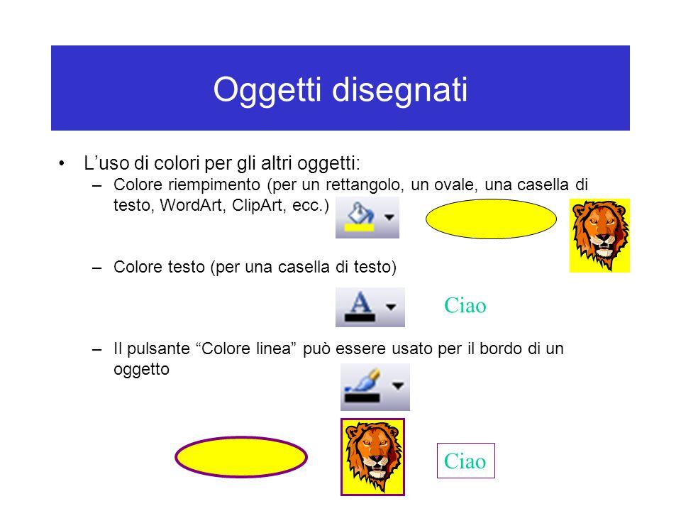 Oggetti disegnati L'uso di colori per gli altri oggetti: –Colore riempimento (per un rettangolo, un ovale, una casella di testo, WordArt, ClipArt, ecc.) –Colore testo (per una casella di testo) –Il pulsante Colore linea può essere usato per il bordo di un oggetto Ciao
