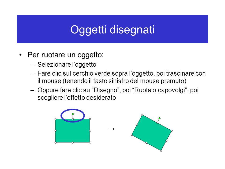 Oggetti disegnati Per ruotare un oggetto: –Selezionare l'oggetto –Fare clic sul cerchio verde sopra l'oggetto, poi trascinare con il mouse (tenendo il tasto sinistro del mouse premuto) –Oppure fare clic su Disegno , poi Ruota o capovolgi , poi scegliere l'effetto desiderato