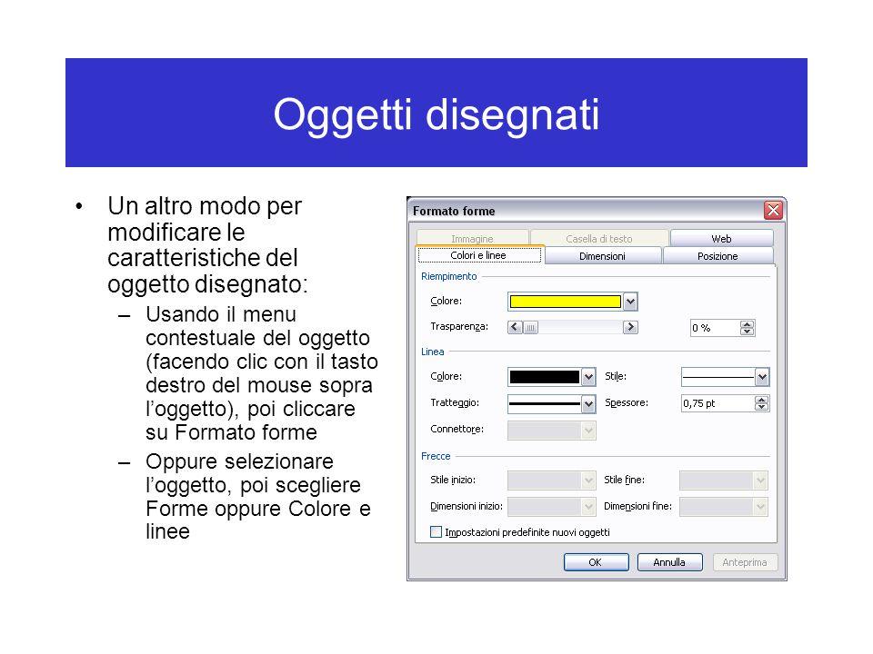 Oggetti disegnati Un altro modo per modificare le caratteristiche del oggetto disegnato: –Usando il menu contestuale del oggetto (facendo clic con il tasto destro del mouse sopra l'oggetto), poi cliccare su Formato forme –Oppure selezionare l'oggetto, poi scegliere Forme oppure Colore e linee