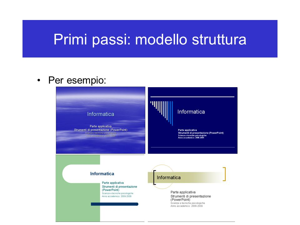 Impostare lo sfondo e le combinazioni di colori Sfumatura: –Si può usare due colori, scegliendo l'opzione relativa nella parte Colori –Per esempio a questa diapositiva –Esistono anche i stili preimpostati (scegliere Preimpostato, poi un'opzione dalla casella di selezione)