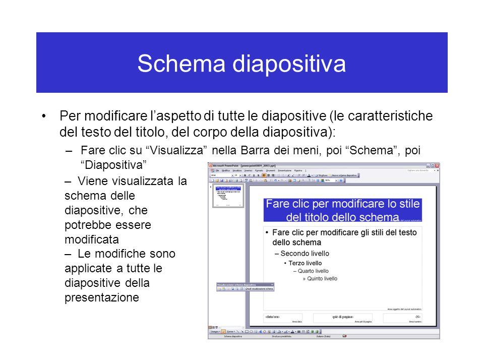 Schema diapositiva Per modificare l'aspetto di tutte le diapositive (le caratteristiche del testo del titolo, del corpo della diapositiva): –Fare clic