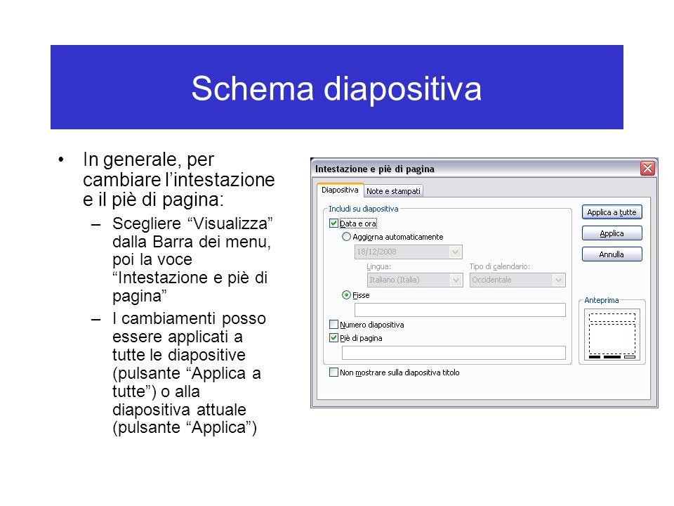 """Schema diapositiva In generale, per cambiare l'intestazione e il piè di pagina: –Scegliere """"Visualizza"""" dalla Barra dei menu, poi la voce """"Intestazion"""