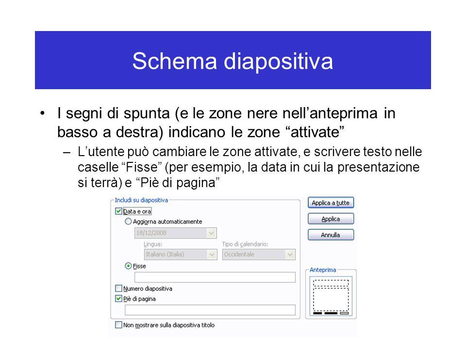 """Schema diapositiva I segni di spunta (e le zone nere nell'anteprima in basso a destra) indicano le zone """"attivate"""" –L'utente può cambiare le zone atti"""