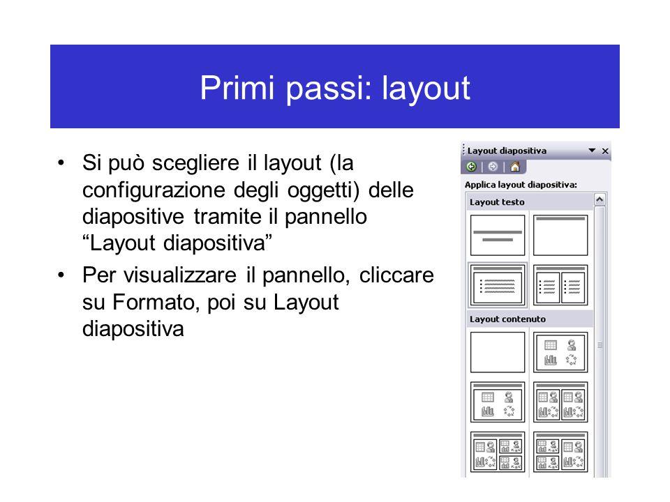 Primi passi: layout Si può scegliere il layout (la configurazione degli oggetti) delle diapositive tramite il pannello Layout diapositiva Per visualizzare il pannello, cliccare su Formato, poi su Layout diapositiva