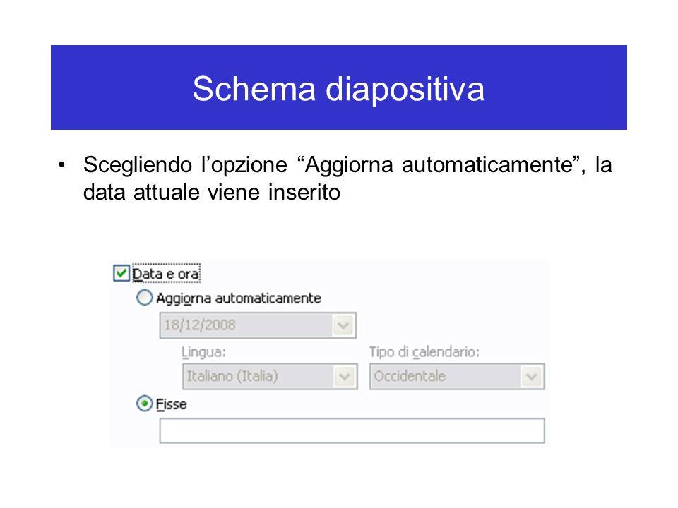 """Schema diapositiva Scegliendo l'opzione """"Aggiorna automaticamente"""", la data attuale viene inserito"""