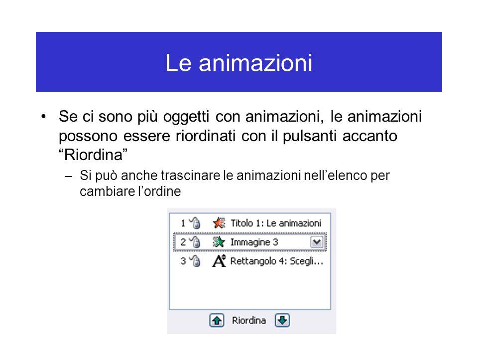 Le animazioni Se ci sono più oggetti con animazioni, le animazioni possono essere riordinati con il pulsanti accanto Riordina –Si può anche trascinare le animazioni nell'elenco per cambiare l'ordine