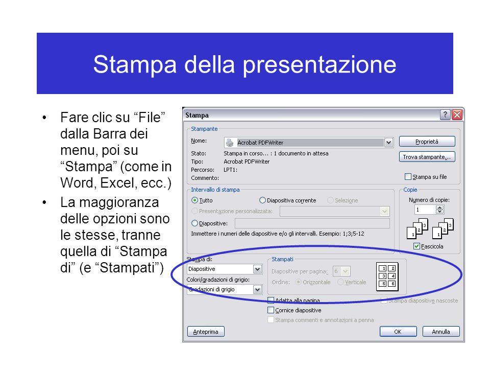 Stampa della presentazione Fare clic su File dalla Barra dei menu, poi su Stampa (come in Word, Excel, ecc.) La maggioranza delle opzioni sono le stesse, tranne quella di Stampa di (e Stampati )