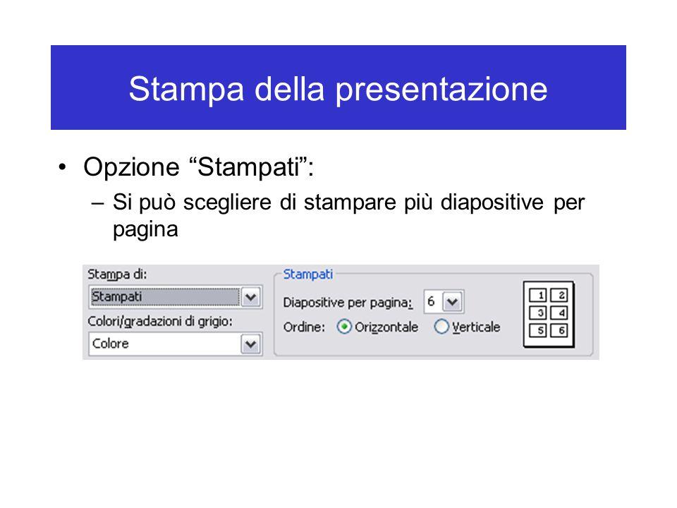 Stampa della presentazione Opzione Stampati : –Si può scegliere di stampare più diapositive per pagina