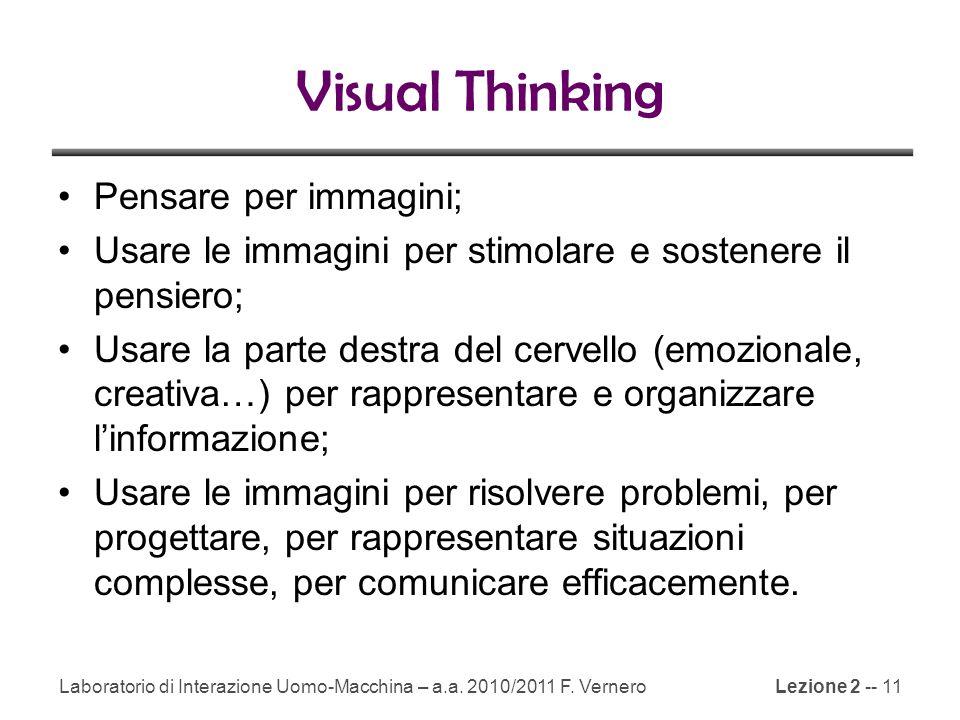 Lezione 2 -- 11 Visual Thinking Pensare per immagini; Usare le immagini per stimolare e sostenere il pensiero; Usare la parte destra del cervello (emozionale, creativa…) per rappresentare e organizzare l'informazione; Usare le immagini per risolvere problemi, per progettare, per rappresentare situazioni complesse, per comunicare efficacemente.