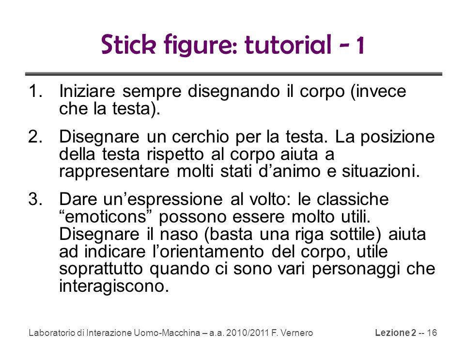 Lezione 2 -- 16 Stick figure: tutorial - 1 1.Iniziare sempre disegnando il corpo (invece che la testa).