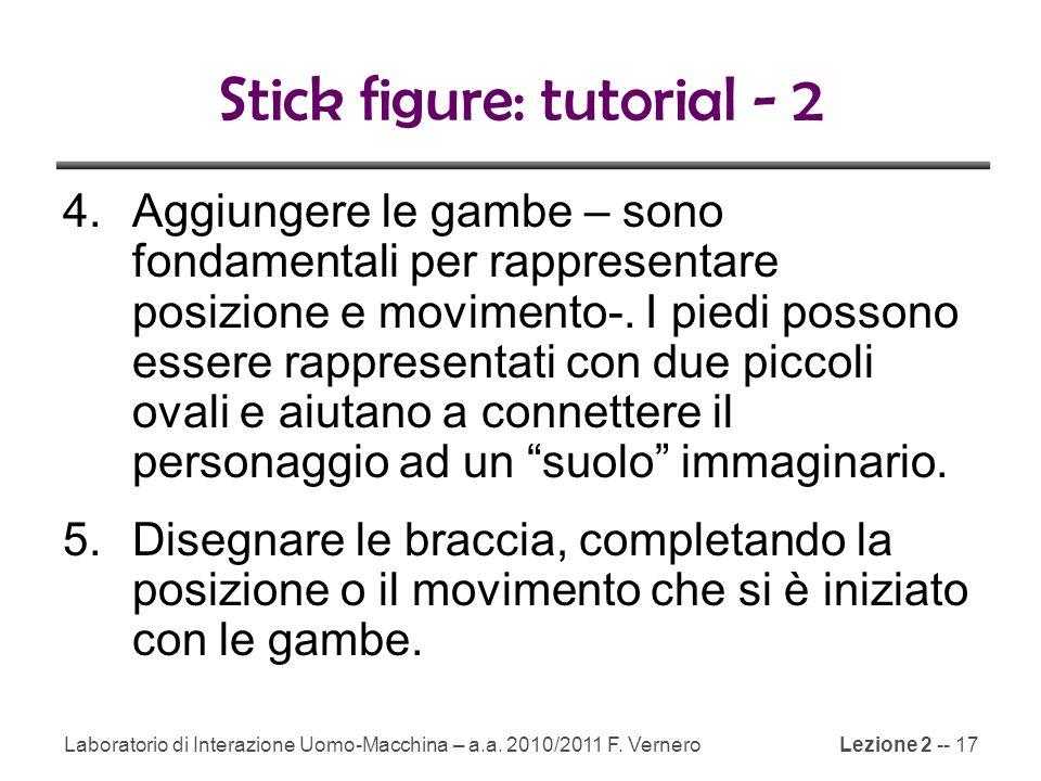 Lezione 2 -- 17 Stick figure: tutorial - 2 4.Aggiungere le gambe – sono fondamentali per rappresentare posizione e movimento-.