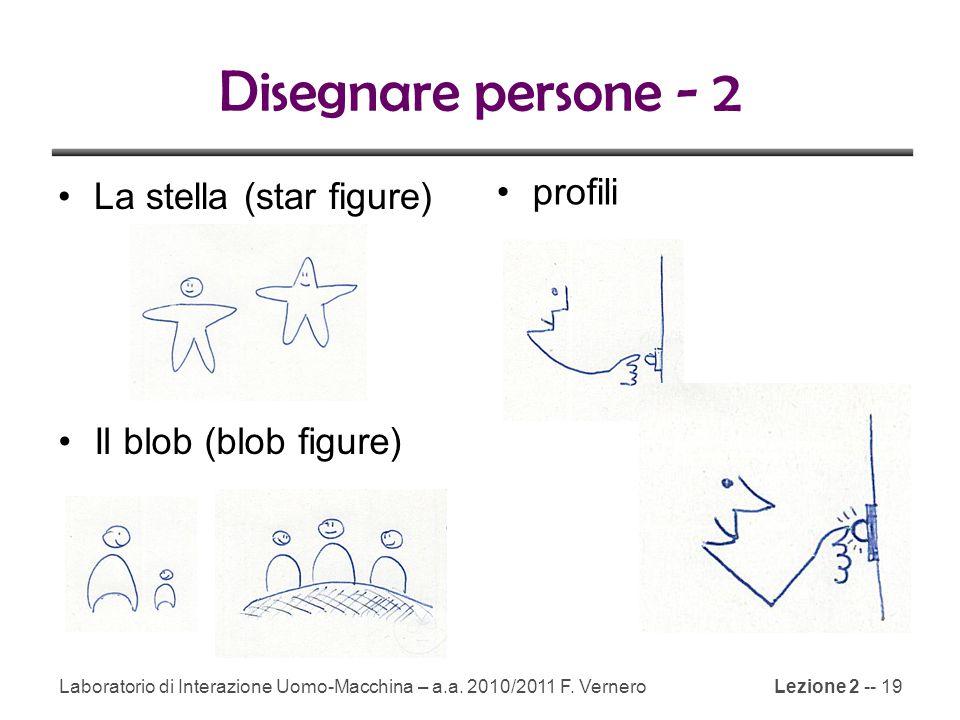 Lezione 2 -- 19 Disegnare persone - 2 La stella (star figure) Il blob (blob figure) profili Laboratorio di Interazione Uomo-Macchina – a.a.