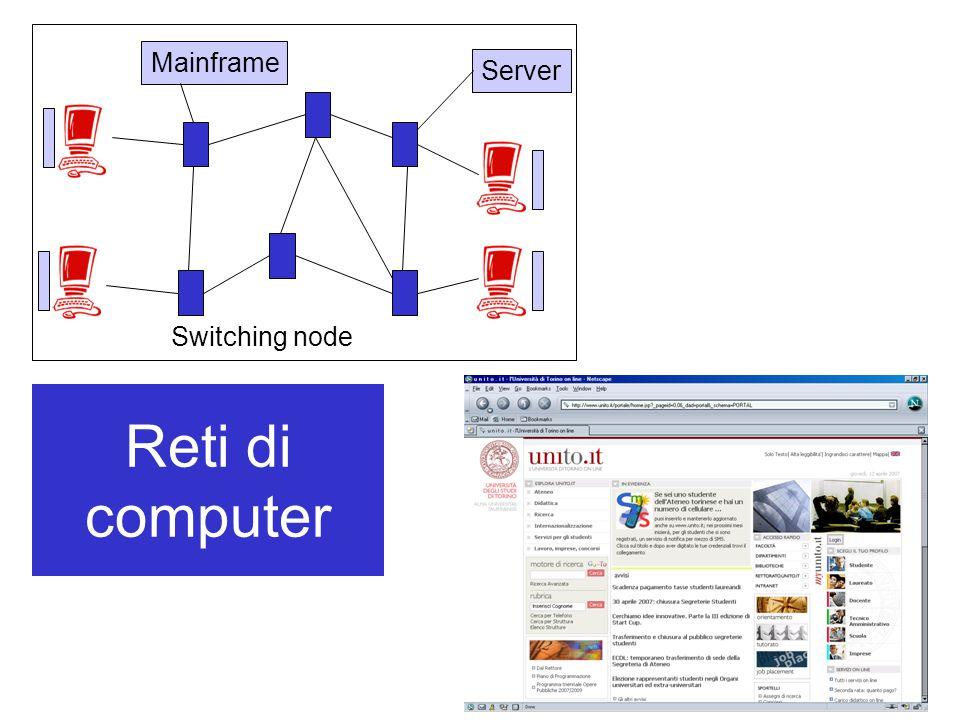 I protocolli Internet: TCP/IP I protocolli del livello di collegamento: –Ruolo: trasferimento dei pacchetti da un nodo della rete al successivo –Alcuni protocolli del livello di collegamento garantiscono la consegna affidabile –Un pacchetto potrebbe essere gestito da differenti protocolli lungo il suo percorso dall'origine alla destinazione –Esempi: Ethernet, PPP (protocollo punto- a-punto) Applicazione Trasporto Rete Collegamento Fisico