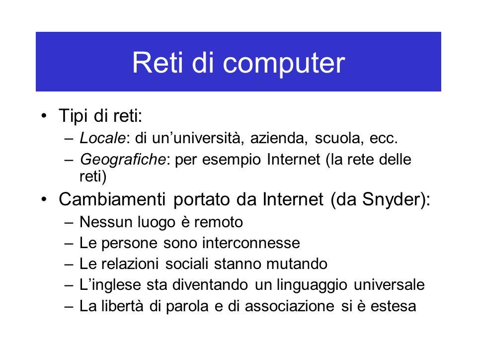 Reti di computer Tipi di reti: –Locale: di un'università, azienda, scuola, ecc. –Geografiche: per esempio Internet (la rete delle reti) Cambiamenti po