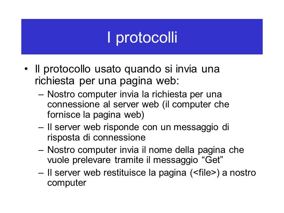 I protocolli Il protocollo usato quando si invia una richiesta per una pagina web: –Nostro computer invia la richiesta per una connessione al server w