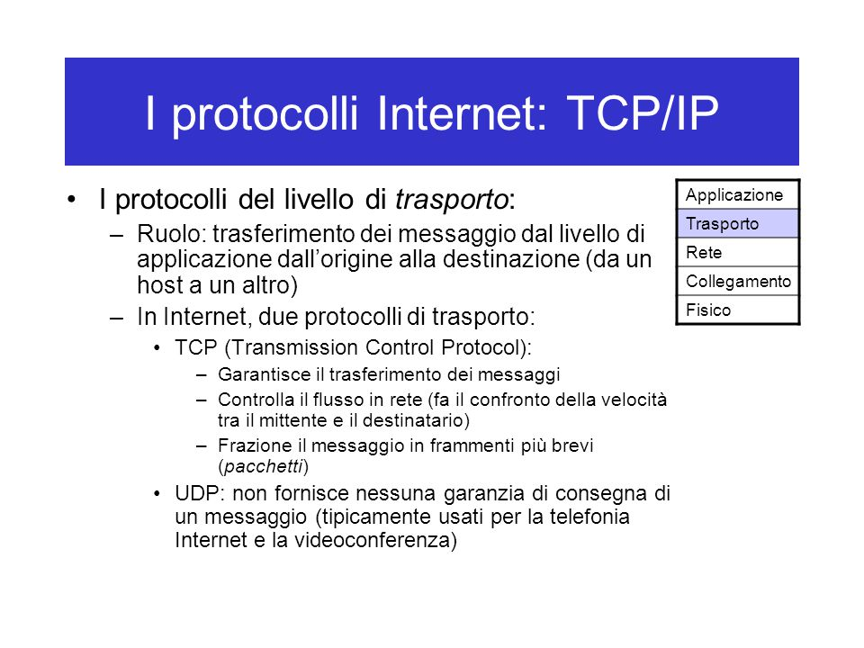 I protocolli Internet: TCP/IP I protocolli del livello di trasporto: –Ruolo: trasferimento dei messaggio dal livello di applicazione dall'origine alla