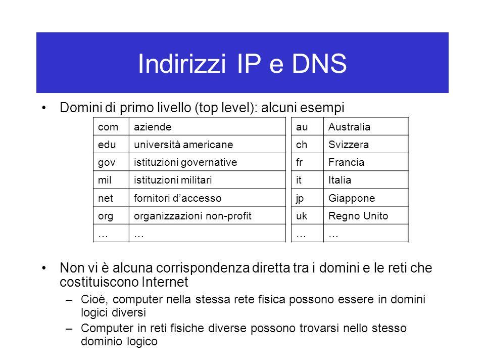 Indirizzi IP e DNS Domini di primo livello (top level): alcuni esempi Non vi è alcuna corrispondenza diretta tra i domini e le reti che costituiscono