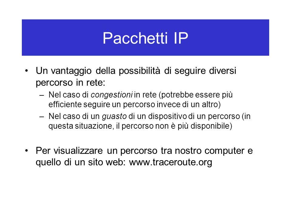 Pacchetti IP Un vantaggio della possibilità di seguire diversi percorso in rete: –Nel caso di congestioni in rete (potrebbe essere più efficiente segu