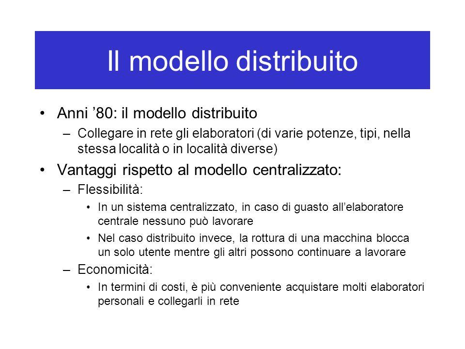 Il modello distribuito Anni '80: il modello distribuito –Collegare in rete gli elaboratori (di varie potenze, tipi, nella stessa località o in localit
