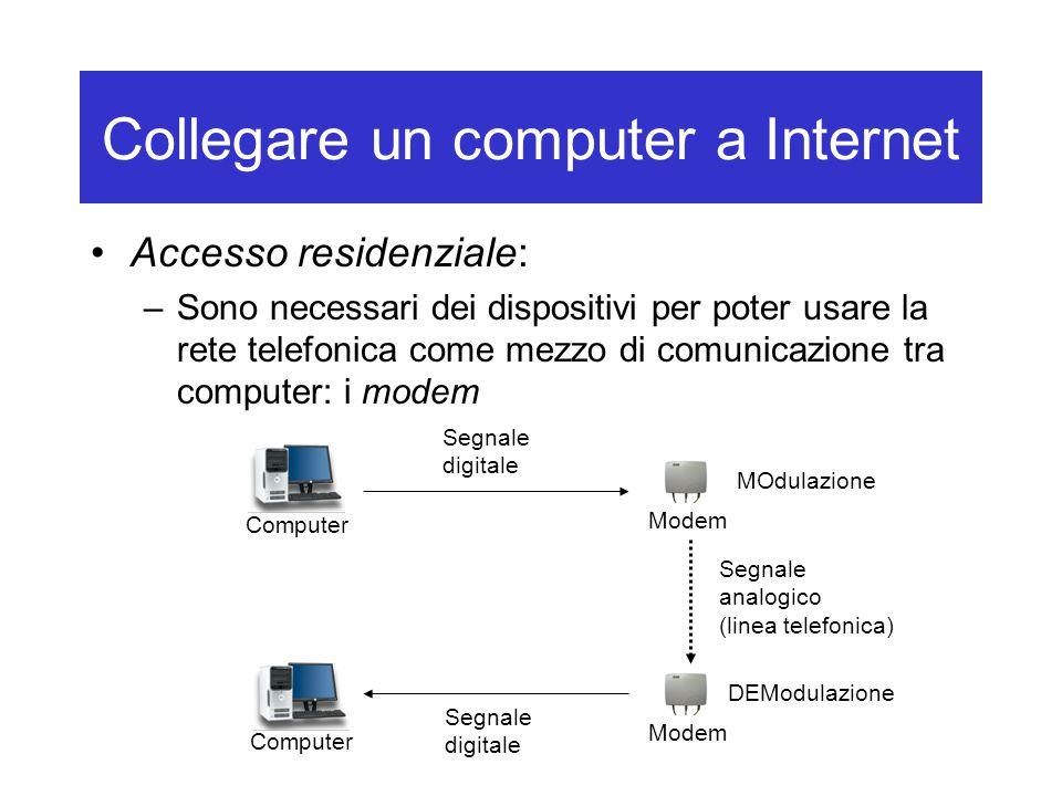 Collegare un computer a Internet Accesso residenziale: –Sono necessari dei dispositivi per poter usare la rete telefonica come mezzo di comunicazione