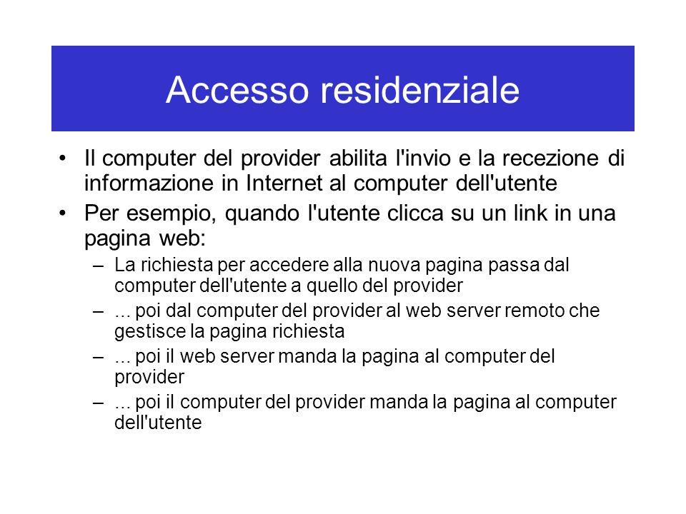 Accesso residenziale Il computer del provider abilita l'invio e la recezione di informazione in Internet al computer dell'utente Per esempio, quando l