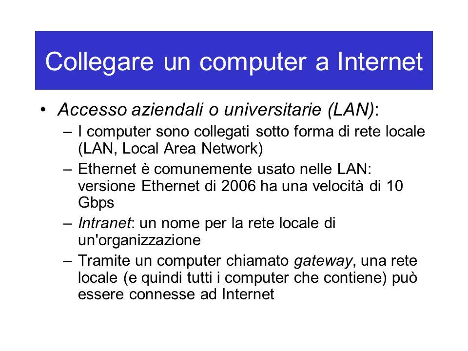 Collegare un computer a Internet Accesso aziendali o universitarie (LAN): –I computer sono collegati sotto forma di rete locale (LAN, Local Area Netwo