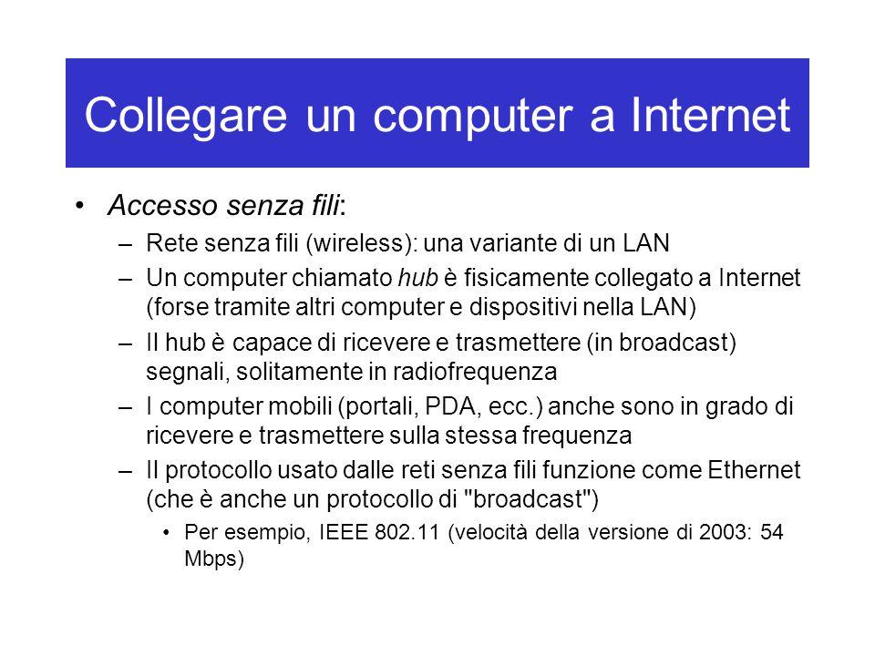 Collegare un computer a Internet Accesso senza fili: –Rete senza fili (wireless): una variante di un LAN –Un computer chiamato hub è fisicamente colle