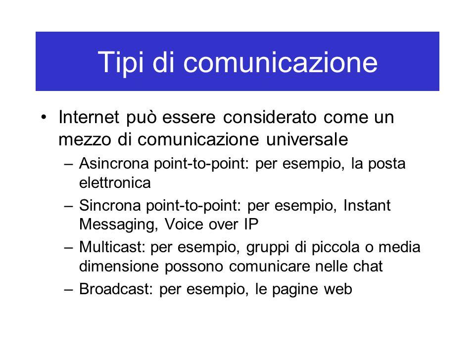 I protocolli Internet: TCP/IP I protocolli del livello di trasporto: –Ruolo: trasferimento dei messaggio dal livello di applicazione dall'origine alla destinazione (da un host a un altro) –In Internet, due protocolli di trasporto: TCP (Transmission Control Protocol): –Garantisce il trasferimento dei messaggi –Controlla il flusso in rete (fa il confronto della velocità tra il mittente e il destinatario) –Frazione il messaggio in frammenti più brevi (pacchetti) UDP: non fornisce nessuna garanzia di consegna di un messaggio (tipicamente usati per la telefonia Internet e la videoconferenza) Applicazione Trasporto Rete Collegamento Fisico