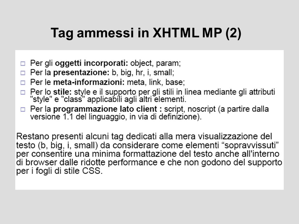 Tag ammessi in XHTML MP (2)