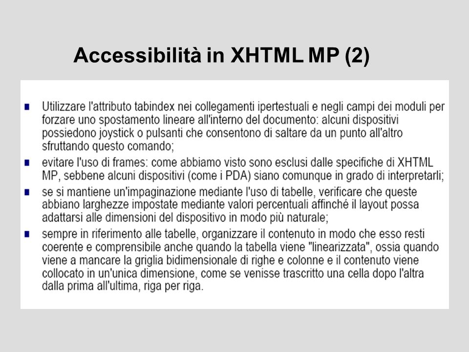 Accessibilità in XHTML MP (2)