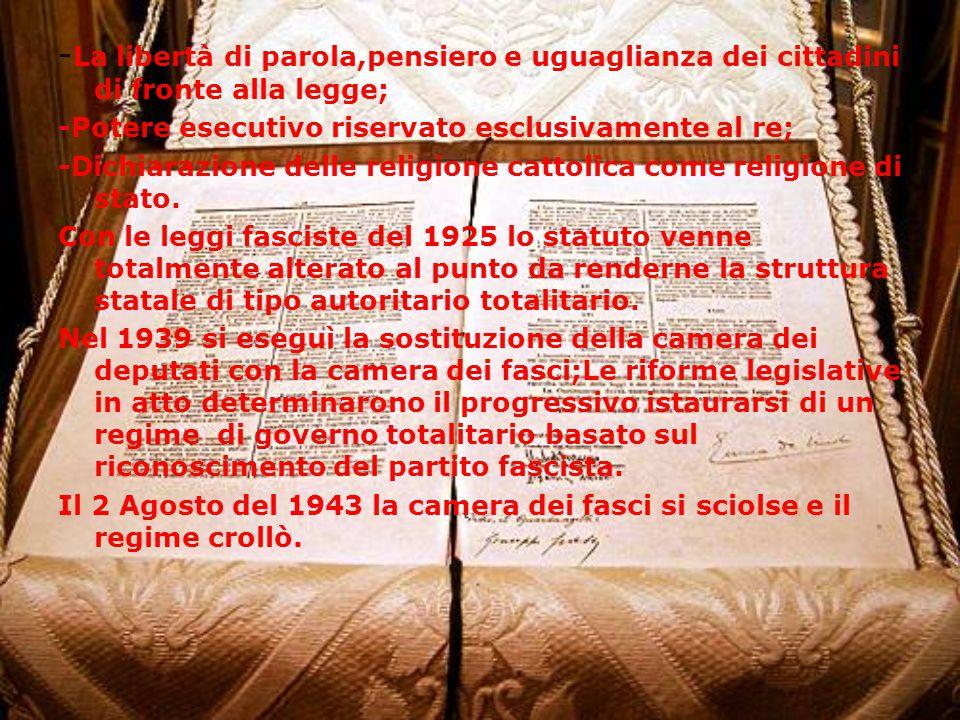 - La libertà di parola,pensiero e uguaglianza dei cittadini di fronte alla legge; -Potere esecutivo riservato esclusivamente al re; -Dichiarazione delle religione cattolica come religione di stato.