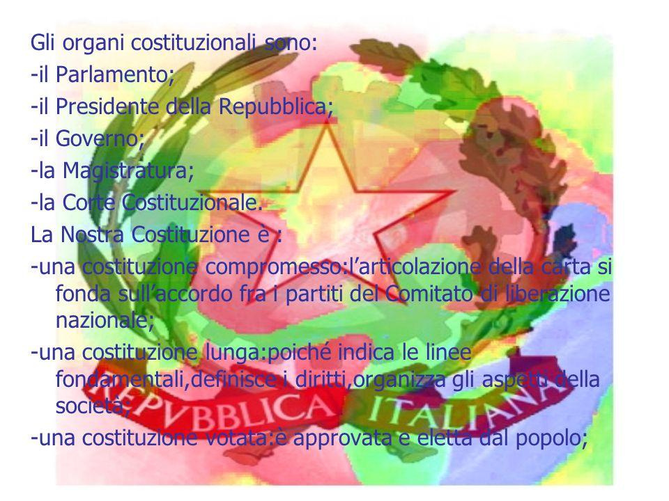 Gli organi costituzionali sono: -il Parlamento; -il Presidente della Repubblica; -il Governo; -la Magistratura; -la Corte Costituzionale.