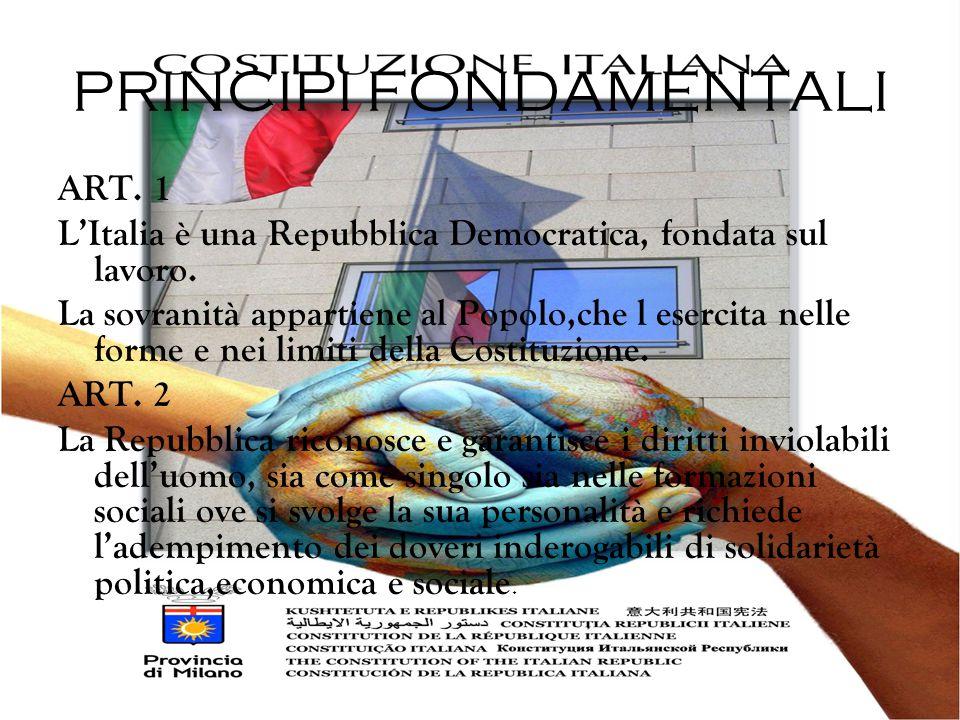 PRINCIPI FONDAMENTALI ART.1 L'Italia è una Repubblica Democratica, fondata sul lavoro.