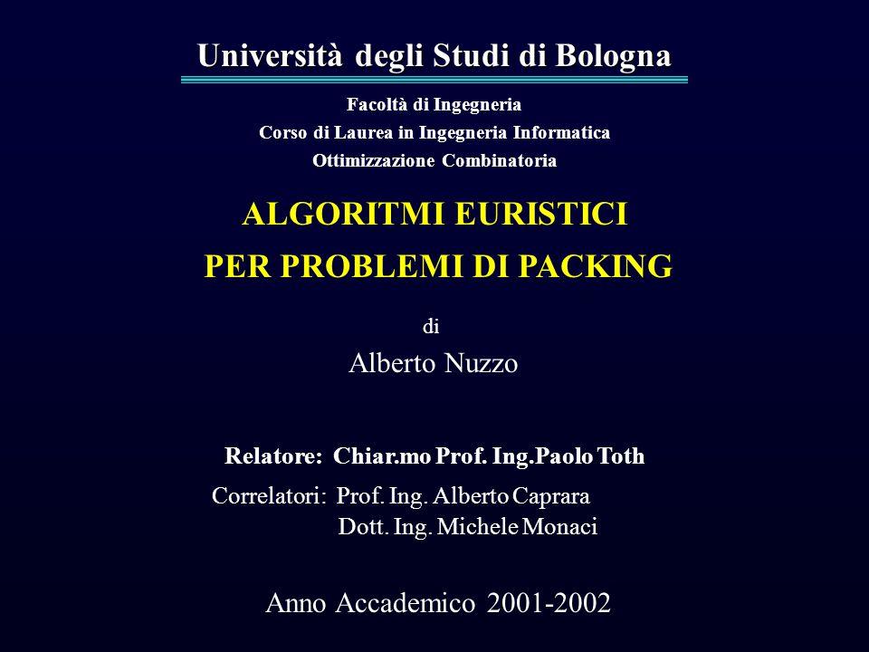 Università degli Studi di Bologna Facoltà di Ingegneria Corso di Laurea in Ingegneria Informatica Ottimizzazione Combinatoria ALGORITMI EURISTICI PER