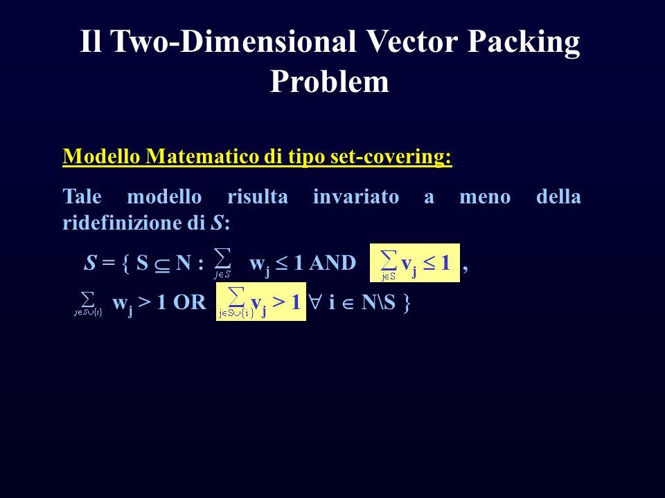 Modello Matematico di tipo set-covering: Tale modello risulta invariato a meno della ridefinizione di S: S =  S  N : w j  1 AND v j  1, w j > 1 OR